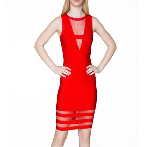 Sentimental NY Women's Red Jersey Knit Body Con Knee Dress