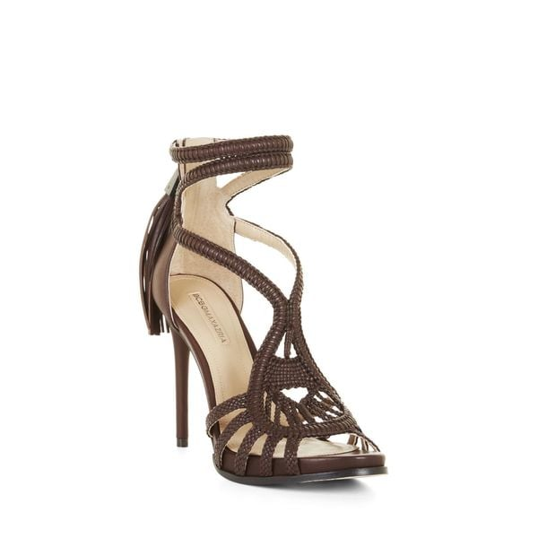 9ed0be0978 BCBG Max Azria Women's Esh Brown Leather Woven High Heel Strappy  Sandals