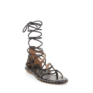BCBG Max Azria Women's Maye Leather Woven Flat Lace-up Gladiator Sandals