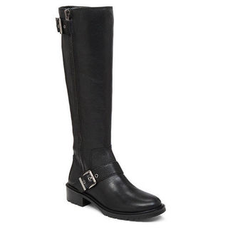 BCBG Women's Shayna Leather Silver-buckle Knee-high Lug-sole Moto Riding Boots