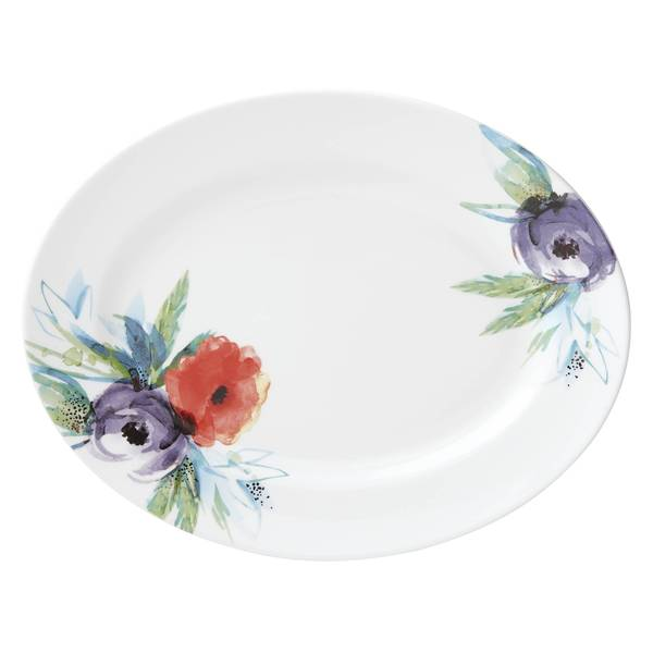 Lenox Passion Bloom Multicolor Bone China 13-inch Oval Platter