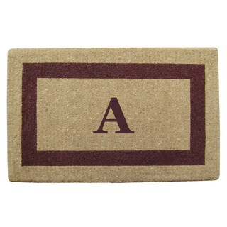 Brown Heavy-duty Coir Single Picture Frame Monogrammed Doormat
