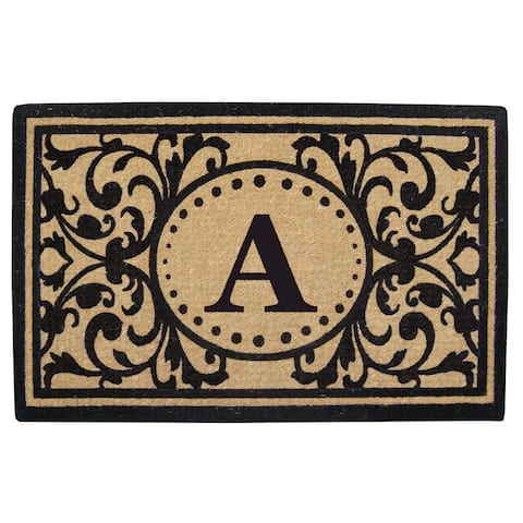 Heritage Heavy-duty Coir Decorative Monogrammed Doormat - 30 inches x 48 inches