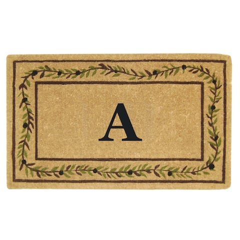 Heavy-duty Coir Decorative Olive Branch Border Monogrammed Doormat - 22 inches x 36 inches