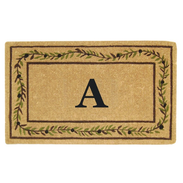 Heavy-duty Coir Decorative Olive Branch Border Monogrammed Doormat