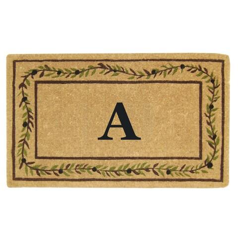 Heavy-duty Coir Decorative Olive Branch Border Monogrammed Doormat