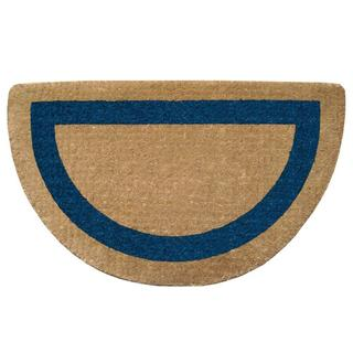 Brown Blue Coir 22 x 36 Heavy Duty Half Round Door Mat