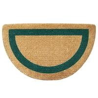 Green/Beige Coir Fiber Half-round Floor Mat