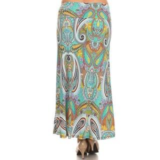 Women's Multicolor Plus Size Paisley Maxi Skirt