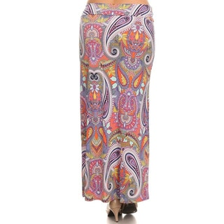 Women's Plus-size Multicolor Polyester and Spandex Paisley Maxi Skirt