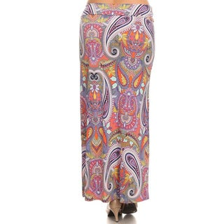 Women's Plus-size Multicolor Polyester and Spandex Paisley Maxi Skirt (3 options available)