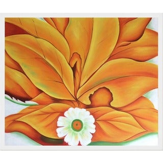 Georgia O'Keeffe 'Yellow Hickory Leaves with Daisy, 1928' Hand Painted Framed Oil Reproduction on Canvas