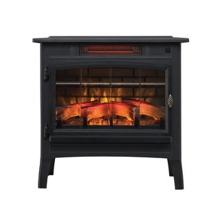 Infrared Quartz Fireplace Stove with 3D Flame Effect, Black