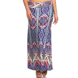 Women's Plus-size Multicolor Polyester and Spandex Abstract Maxi Skirt