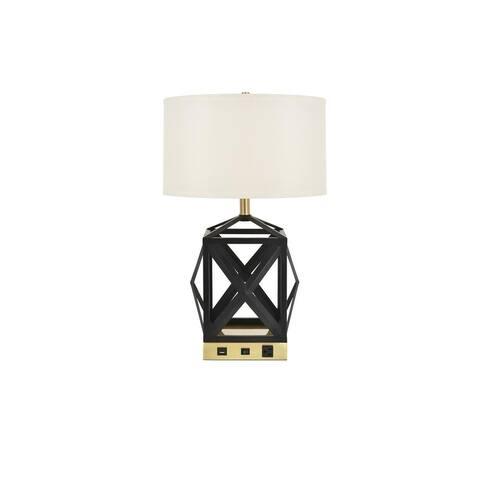 Somette Verona 1-Light Black Finish Table Lamp