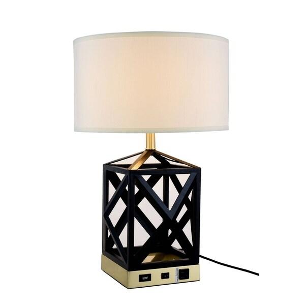 Somette Verona Collection 1-Light Black Finish Table Lamp