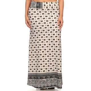 Women's Elephant Print Plus-size Maxi Skirt