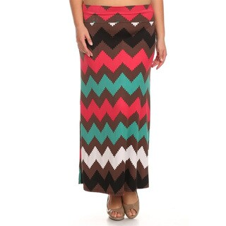 Women's Plus Size Chevron Maxi Skirt