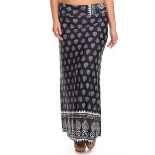 Women's Plus Size Navy Damask Maxi Skirt