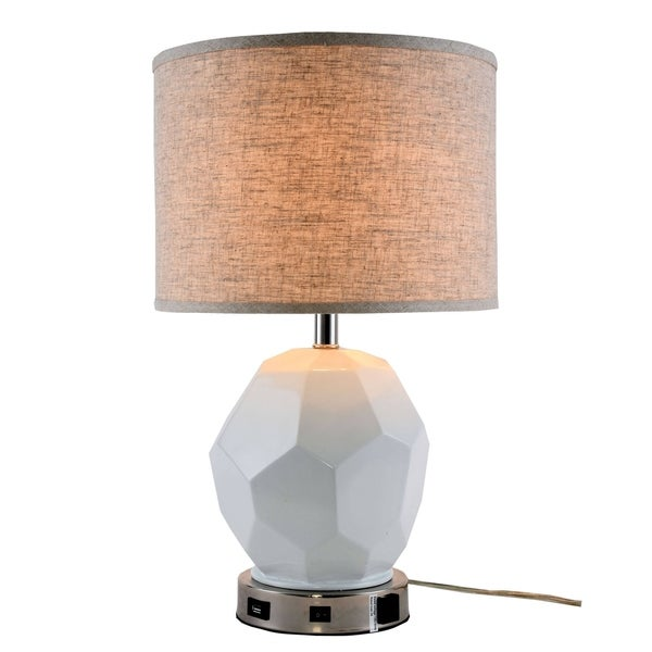 Somette Verona Collection 1-Light Polished Nickel Finish Table Lamp