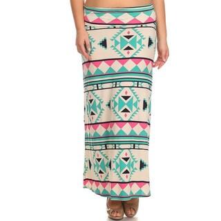 Women's Plus Size Aztec Pattern Maxi Skirt