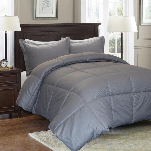 Reversible Cotton Diamond Damask Down Alternative 3-piece Comforter Set