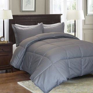 Reversible Cotton Diamond Damask Down Alternative 3-piece Comforter Set
