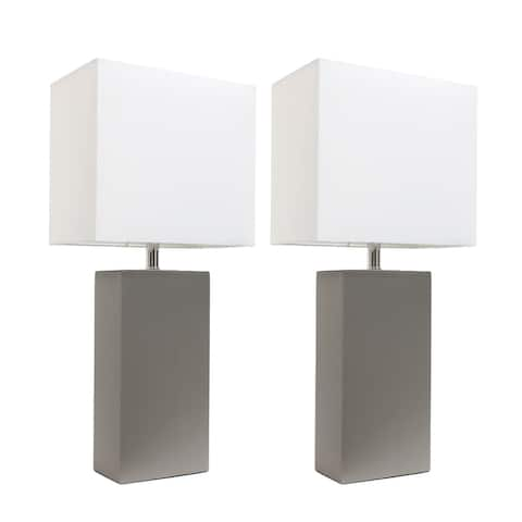 Porch & Den Fairway Grey/White Leather Modern Table Lamps (Set of 2)