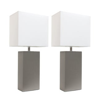 Elegant Designs Grey/White Leather Modern Table Lamps (Set of 2)