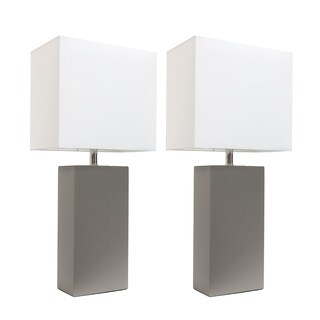 elegant designs greywhite leather modern table lamps set of 2