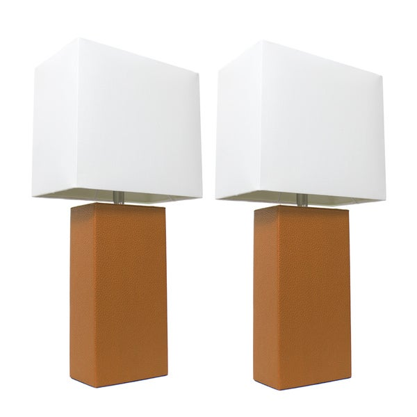 Elegant Designs 2 Pack Modern Tan Leather Table Lamps with White Fabric Shades