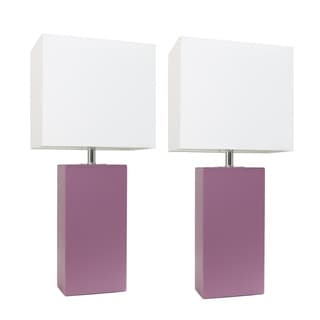 Porch & Den Fairway Purple Leather/ White Fabric Table Lamp (Set of 2)