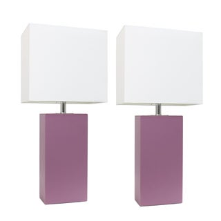 Elegant Designs Modern Purple Leather and MDF 60-watt 1-light Table Lamps With White Fabric Shades (Set of 2) (Option: Purple)