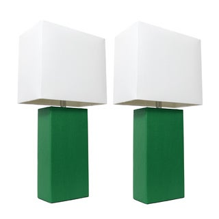 Elegant Designs Green Leather and White Fabric Shade Table Lamps (Set of 2)