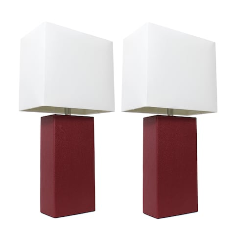 Porch & Den Fairway Red Leather With White Fabric Shades Modern Table Lamps (Set of 2)