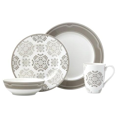 Lenox Neutral Party Medallion White/Beige Porcelain 4-piece Place Setting
