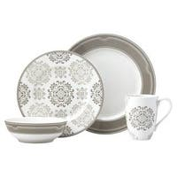 Lenox Neutral Party Medallion White/Beige Porcelain 4-piece Place Setting