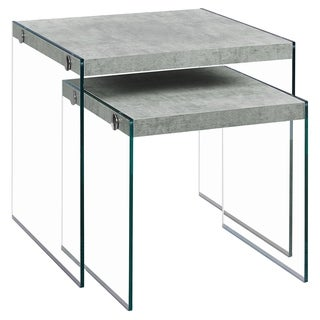 Contemporary Grey Veneer Glass Nesting Table Set