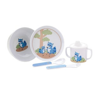 Reed and Barton Hazelnut Hollow Raccoon Multicolored Melamine 5-piece Dinnerware Set