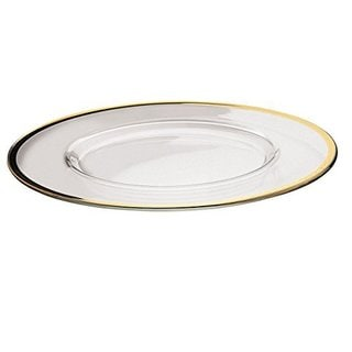 Majestic Gifts Quality Glass Charger Plate with Gold Rim (Set of 2)