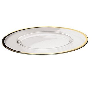 majestic gifts quality glass charger plate with gold rim set of 2
