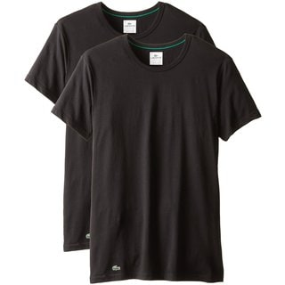 Lacoste Black Cotton/Spandex Crew-neck Undershirt (Pack of 2)