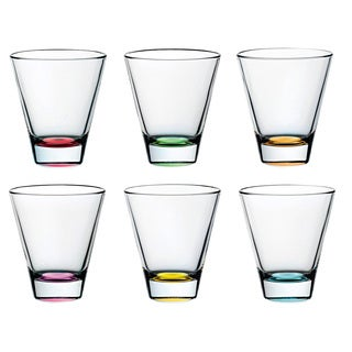 Majestic Gifts Assorted Color Glass 10.5-ounce 6-piece Double Old Fashioned Tumbler Set