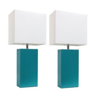Elegant Designs Blue Leather Table Lamps with White Fabric Shades