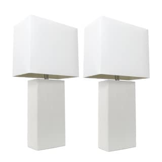 Elegant Designs White Leather Modern Table Lamp (Set of 2)