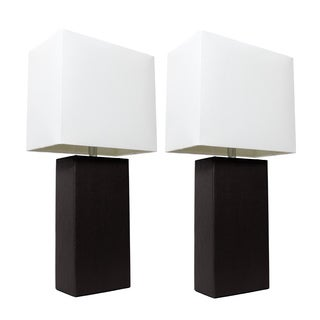 Elegant Designs Black Leather Table Lamps (Set of 2)|https://ak1.ostkcdn.com/images/products/13739659/P20397631.jpg?_ostk_perf_=percv&impolicy=medium