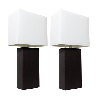 Elegant Designs Black Leather Table Lamps (Set of 2)