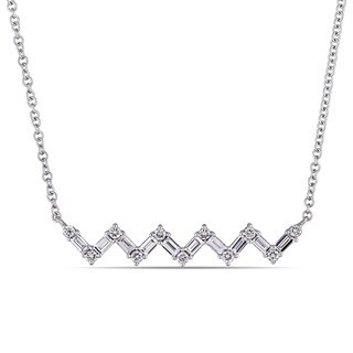 Miadora 14k White Gold 3/8ct TDW Round and Tapered Baguette-Cut Diamond Zigzag Necklace (G-H, SI1-SI2)
