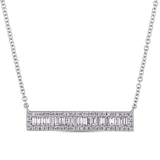 Miadora Signature Collection 14k White Gold 3/8ct TDW Round and Tapered Baguette Diamond Bar Cluster Necklace (G-H, SI1-SI2)