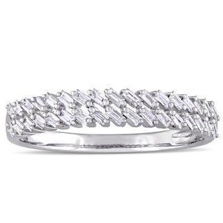 Miadora 14k White Gold 1/3ct TDW Tapered Baguette Diamond Two-Row Semi-Eternity Band (G-H, I1-I2)